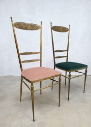 Brass Hollywood regency velvet brass dining chair eetkamerstoel messing vintage Italian design