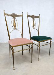 Dining chairs set Hollywood regency brass vintage Italian design eetkamerstoelen Italiaans