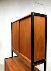 Midcentury teak houten kast Zweeds design vintage Swedish Bodafors cabinet