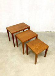 Vintage Deens Danish bijzettafeltjes Mimiset nesting tables teak wood houten midcentury set