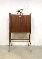Danish midcentury design vintage secretaire liquor cabinet kast teak