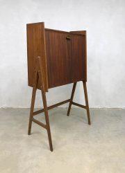 Secretaire cabinet kast teak wood midcentury vintage Danish design