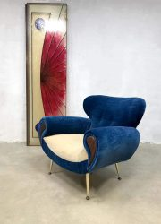 vintage Italian design arm chair lounge fauteuil blue velvet