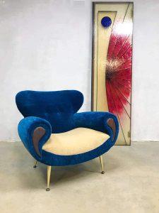 Midcentury Italian design armchair lounge fauteuil 'Bulky Blue'