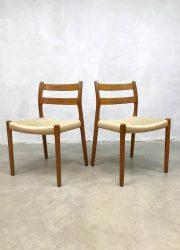 midcentury danish design dining chairs Moller eetkamerstoelen 84
