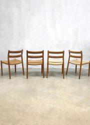 midcentury design Danish Moller chairs 84 teak stoelen