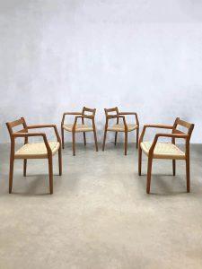 Vintage Danish dining chairs Niels O. Møller eetkamerstoelen No.67