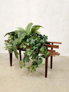 Latten Deens design vintage plantenbak plantenstandaard plant stand Danish teak hout