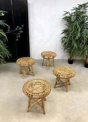 vintage design rattan ottoman hocker poef voetenbank rotan bamboo Franco Albini style