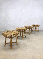 midcentury rattan bamboo ottoman hocker pouf poef rotan