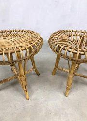 midcentury design ottoman rattan bamboo Franco Albini 1960 hocker poef