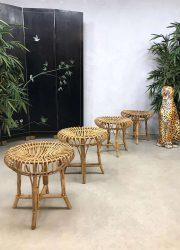 vintage design rattan ottoman hocker poef voetenbank rotan bamboo Franco Albini style2