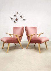 vintage lounge fauteuils wingback chair pink velvet