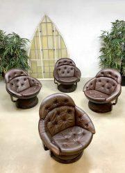 Unique leather Space Age vintage design lounge chairs