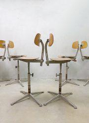 Vintage industrial Dutch architect stools Friso Kramer Ahrend de Cirkel