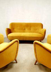 Midcentury modern vintage loungeset velvet armchair sofa Italian