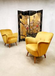 Vintage design armchairs fifties sixties cocktail chairs lounge chair velvet gold