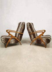 Vintage Danish design lounge chairs print arm chairs Tiger cheetah