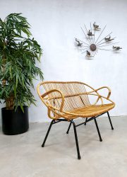 Vintage design rattan wicker sofa bench rotan bank Rohe Noordwolde