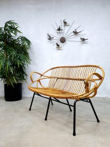 Wicker sofa rattan bench rotan bank design Rohe Noordwolde vintage