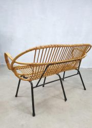 Rotan bank Rohe Noordwolde rattan sofa vintage design wicker bench