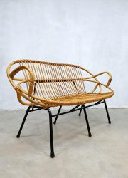 Rattan wicker rotan bank bench sofa vintage design Noordwolde Rohe