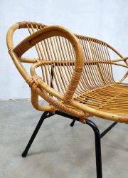 Rohe Noordwolde vintage design rotan bank rattan bench wicker bench