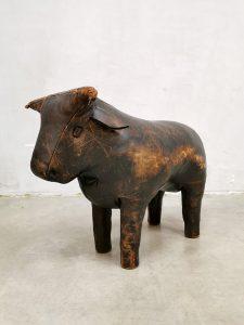 Vintage leather Bull ottoman voetenbank hocker Dimitri Omersa