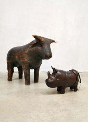 Bull stier Dimitri Omersa leather voetenbank ottoman hocker vintage