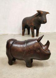 Vintage leather Rhino neushoorn Dimitri Omersa