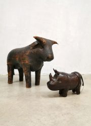 Leren neushoorn vintage Dimitri Omersa leather rhino