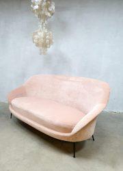 vintage sofa velvet bank pink roze canapé fifties sixties Italian Zanuso style