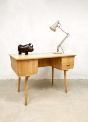 vintage french design desk light wood bureau industrieel frans