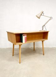 vintage dutch office desk light oak birch beech wood bureau