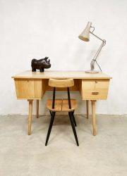vintage Dutch industrial desk bureau light wood