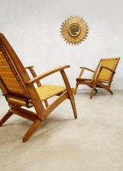vintage Italian design folding lawn chair klapstoel strap armchair outdoor