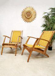 Tuinset outdoor webbing strap folding chair klapstoel armchair vintage Italian design