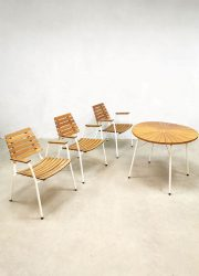 Outdoor garden diningset Midcentury Daneline design Deens teak tafel table chairs stoelen