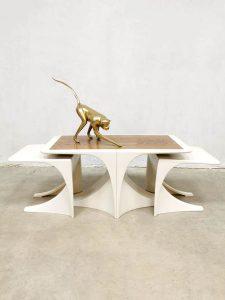 Vintage 70's space age mimiset nesting tables bijzettafel tv tafel