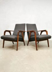 midcentury lounge chairs Dutch design armchairs grey