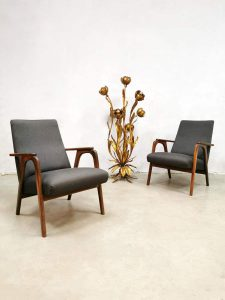 Vintage Dutch design armchairs sixties lounge fauteuils