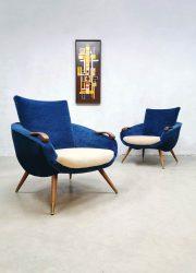 Vintage Danish design armchairs velvet lounge fauteuils