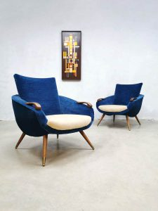 Vintage Danish design armchairs velvet lounge fauteuils