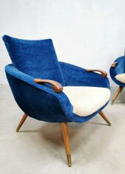 Velvet Danish vintage fauteuille lounge armchair design fauteuil retro velours jaren 50 fifties