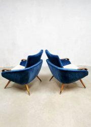 Lounge chairs velvet Danish design fauteuils vintage retro