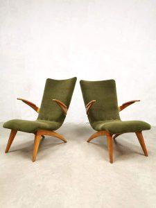 Vintage Dutch design armchairs lounge fauteuils & sofa G. Van Os