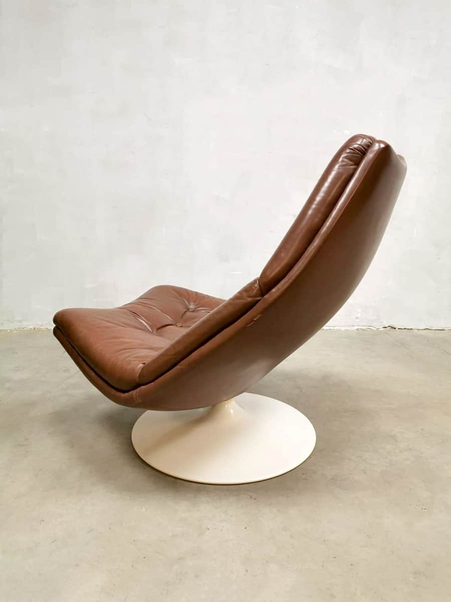 2e Hands Artifort Fauteuils.Vintage Leather Swivel Chair Draai Fauteuil Artifort
