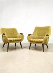 Midcentury armchairs Dutch design green vintage fauteuils