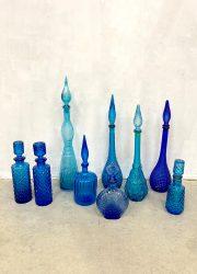 vintage Italiaans glas flessen karaf genie bottles blue