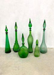 vintage Italiaans glas flessen karaf genie bottles green groen